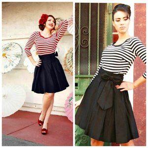PINUP COUTURE USA Black A-Line Bow Retro Skirt